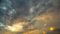 Dramatic Sky with Clouds at Sunset or Sunrise Background, HDR Royalty Free Stock Photo