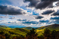 Dramatic sky over the Blue Ridge Mountains in Shenandoah National Park, Virginia. Royalty Free Stock Photo