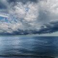 Dramatic sky over darken sea rain before Royalty Free Stock Photos