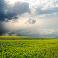 Dramatic sky over field Royalty Free Stock Photo