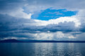 Dramatic sky over lake moody with stormy clouds taupo in the north island of new zealand Stock Photography