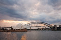 Dramatic sky and the sydney opera house at dusk australia july skyline taken from mrs macquarie s point Royalty Free Stock Photography
