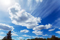 Dramatic Summer Sky with Clouds and Sun Royalty Free Stock Photo