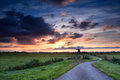 Dramatic summer sunrise over windmill dutch holland Royalty Free Stock Image