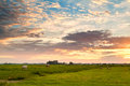 Dramatic sunrise over dutch pastoral groningen Stock Photography