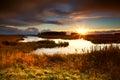 Dramatic sunrise over lake Stock Images