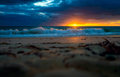 Dramatic sunset at the beach Royalty Free Stock Photo