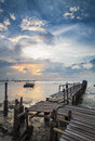 Dramatic sunset at fishing village Royalty Free Stock Photo