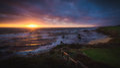 Dramatic sunset at Half Moon Bay beach Royalty Free Stock Photo
