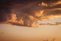 Dramatic sunset with orange clouds Stock Photography