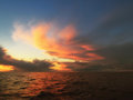 Dramatic sunset over the baltic sea beatiful with clouds Stock Images