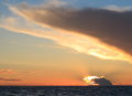 Dramatic sunset over the baltic sea beatiful with clouds Stock Photos