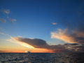 Dramatic sunset over the baltic sea beatiful with clouds Royalty Free Stock Photo