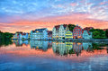 Dramatic sunset over old town of Landshut on Isar river near Mun Royalty Free Stock Photo