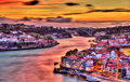 Dramatic sunset over Porto HDR Royalty Free Stock Photo