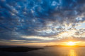 Dramatic sunset over Santorini caldera sea Royalty Free Stock Photo