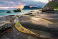 Dramatic sunset over Uttakleiv beach on Lofoten islands in Norwa Royalty Free Stock Photo