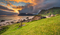 Dramatic sunset over Uttakleiv beach on Lofoten islands, Norway Royalty Free Stock Photo