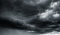 Dramatic thunder storm clouds at dark sky Royalty Free Stock Photo