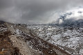 Dramatic view over gloomy Ngozumpa glacier in.