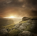 Dramatic wild landscape dartmoor uk Stock Images