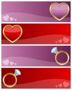 Drapeaux de jour de Valentines réglés Images stock