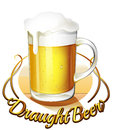 A draught beer label and a pitcher of cold beer Royalty Free Stock Image