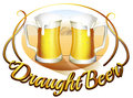 A draught beer label with two mugs of beer illustration on white background Stock Photography