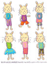 Draw Male Female Cat Alphabet Set_eps Stock Photography