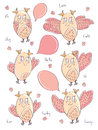 Draw Owl Bird Cute Card_eps Royalty Free Stock Photography