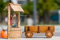 Draw well and carts handmade wooden toy Royalty Free Stock Photography