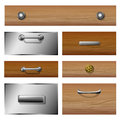 Drawer front set wooden and metallic with different knobs Royalty Free Stock Photos