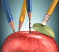 Drawing apple several pencils making the perfect clipping path included Royalty Free Stock Photo