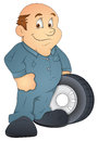 Drawing art of cartoon automobile engineer character vector illustration Stock Photography