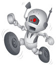 Drawing art of cartoon funny robot character running vector illustration Stock Photos