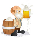 Drawing art of cartoon man drinking beer vector illustration Royalty Free Stock Image