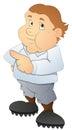 Drawing art cute funny fat cartoon boy vector illustration Royalty Free Stock Photo