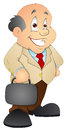 Drawing art of happy successful cartoon businessman character vector illustration Stock Photography