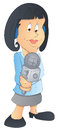 Drawing art of young cartoon lady tv reporter character holding mic vector illustration Royalty Free Stock Images