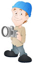 Drawing art of young cartoon photographer character holding camera vector illustration Royalty Free Stock Photo