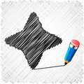 Drawing black four-star. Royalty Free Stock Photography