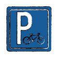 Drawing bycicle road sign parking Royalty Free Stock Photo