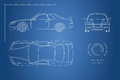 Drawing of the car on a blue background. Top, front and side view. The blueprint of  vehicle Royalty Free Stock Photo