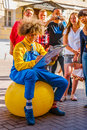 Drawing caricatures in arbat street of moscow russia on monday july is a pedestrian tourist interest about one Royalty Free Stock Photos