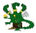 Drawing a cartoon of a green dragon. Illustration.