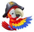 Drawing cartoon parrot pirate character leaning round sign banner pointing his her wing Stock Image