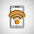 Drawing cellphone wifi internet Royalty Free Stock Photo