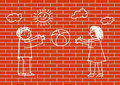 Drawing of children on wall Stock Photos