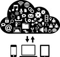 Drawing cloud several communication icons tablet laptop smartphone Stock Photos