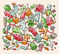 Drawing Colorful Doodle Items. Vector Illustration for Cover Design Royalty Free Stock Photo